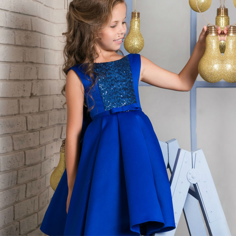 Flower Girls Dresses for Wedding A-Line Satin First Communion Dresses for Girls Sequined Mother Daughter Dresses For Graduation