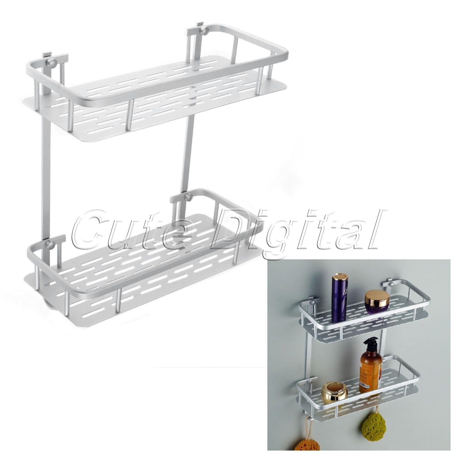 36x31x14cm 2 tiers aluminium bathroom shelf shower shampoo for Bathroom accessories shampoo holder