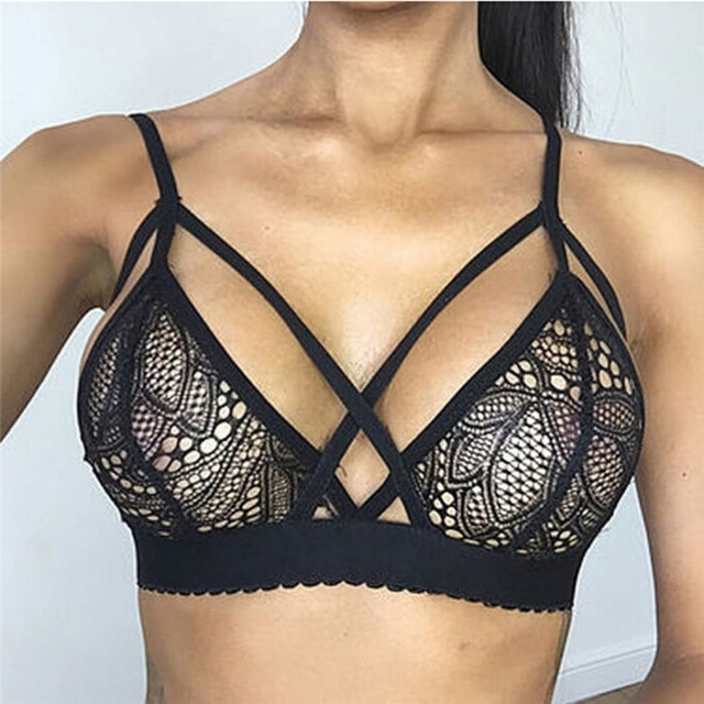dbfb01fb9a New Black Women Ladies Bralettes lingerie top Sexy Lace Bra Cute Bralette  hollow out Sexy Floral