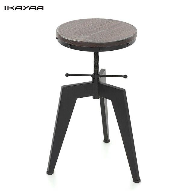 IKayaa Bar Stool Natural Pine Wood Top Swivel Dining Chair Height Adjustable  Industrial Style Bar Stool