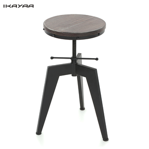 iKayaa Bar Stool Natural Pine Wood Top Swivel Dining Chair Height Adjustable Industrial Style Bar Stool US FR DE Stock