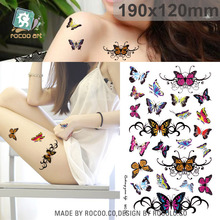 19x12cm Large Tattoo Sticker Bright Colorful Butterfly Flower Designs Temporary Tattoo Stickers Fashion Sexy Taty Tatoo