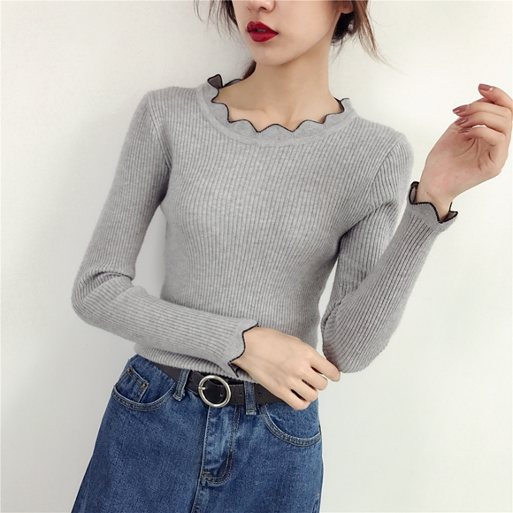 2019 Women Pullovers Slim Thread Bottoming Sweater Lace Low O-Neck Solid Color Sleeve Long Sleeve Sweater Female Fashion Top