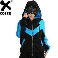 XCOSER Nightwing Hoodie Comics Batman Cosplay Costume Warm Cotton Blue Black Hooded Winter Sweatshirt For Men Adult