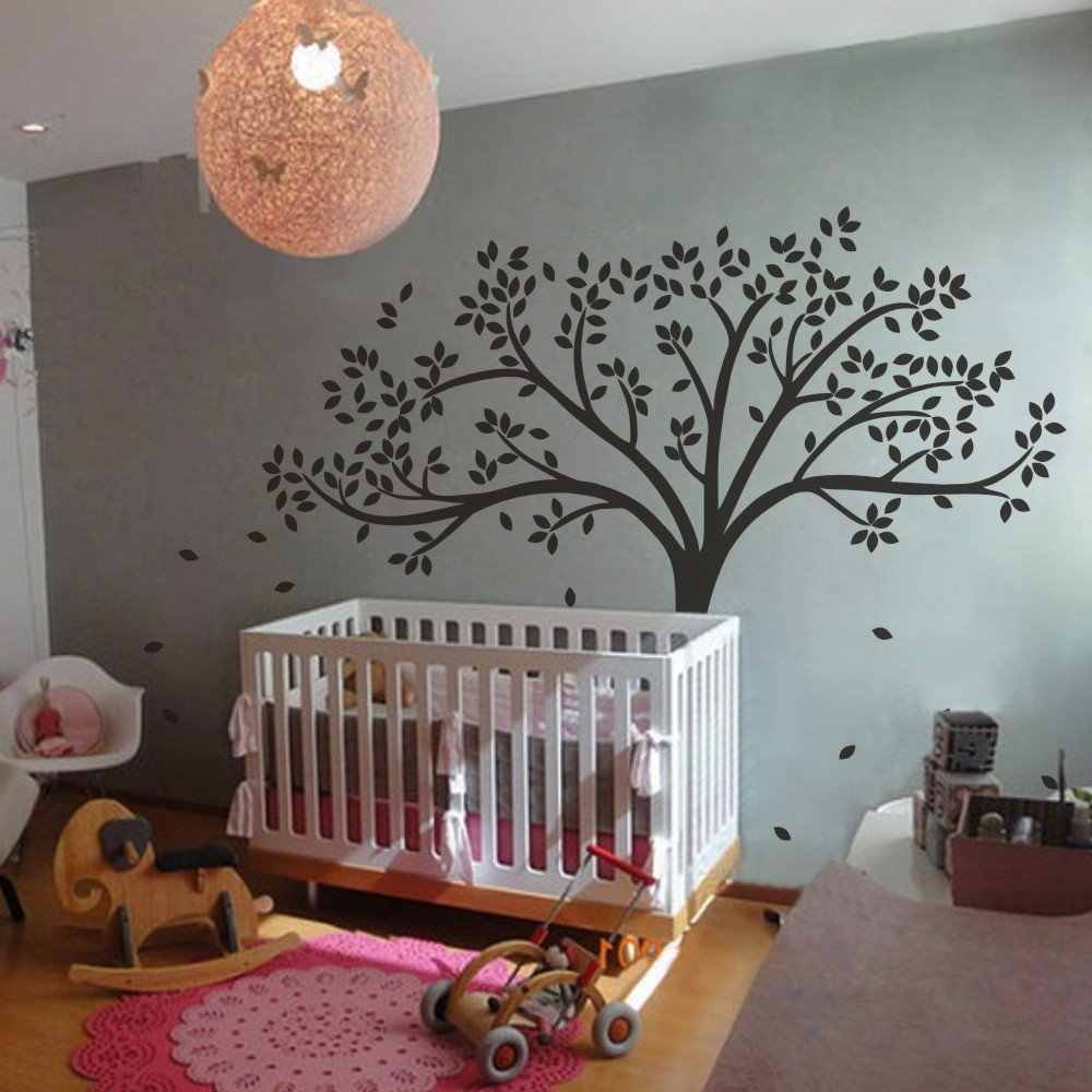 "A042  MairGw Fall Tree Wall Decal - Monochromatic Tree Decal - Baby Nursery Wall Decal  78""H X 87""W (White Tree)"