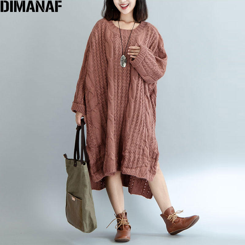 DIMANAF Women Sweater Plus Size Knitted Cotton High Street Striped Fashion Female Solid Oversize Split Winter