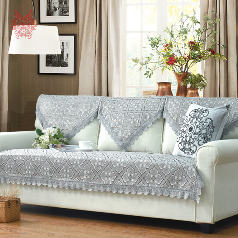 European Style Blue Grey Beige Fl Terry Chenille Sofa Cover Slipcovers For Sectional Winter Autumn Sp2636 Free Ship In From Home