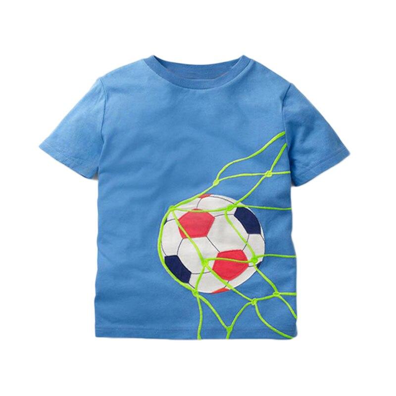 V-TREE; летние рубашки для мальчиков; хлопковые детские футболки; цветные топы для девочек; детская блузка с короткими рукавами; футболки для малышей; одежда для малышей - Цвет: blue football