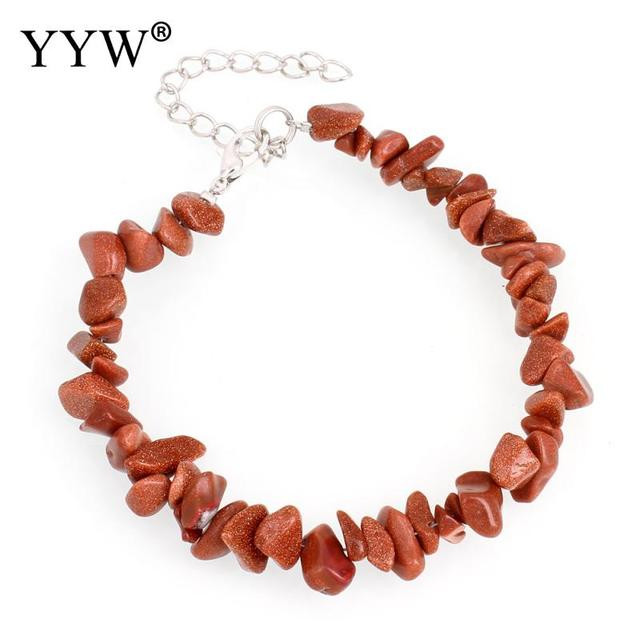 YYW Women's Circle Strand Bracelets Natural Gems Stone Quartz Sea Opal Clear Quartz Moonstone Beaded Wristband Bracelets