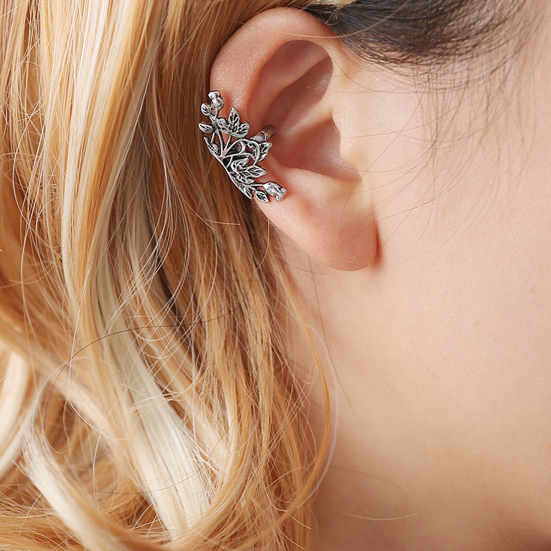 vintage lotus clip on earrings no pierced ear cuff pendientes de clip women earrings earclip wrap earcuff brincos bracelet