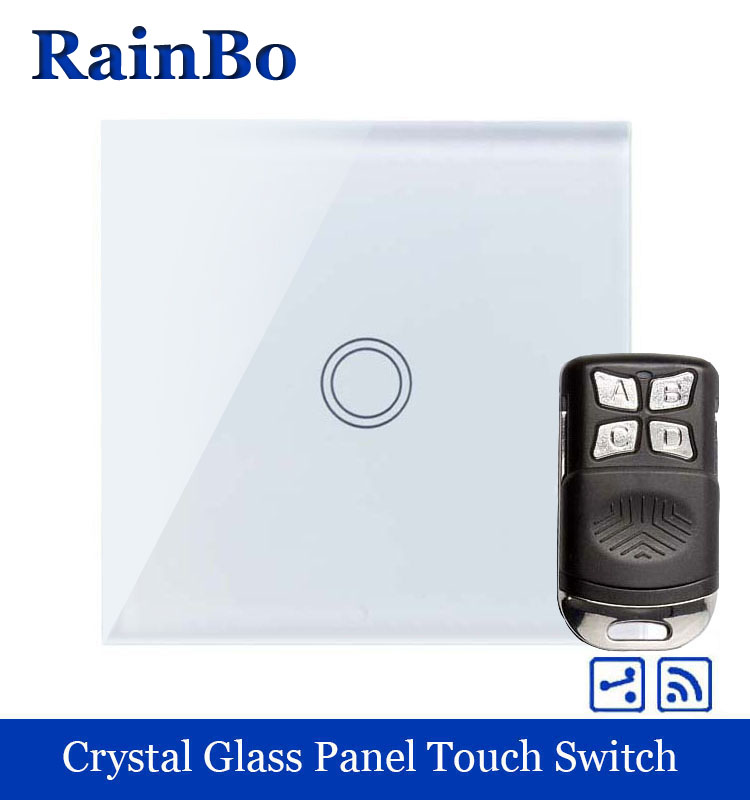rainbo Crystal Glass Panel Switch EU Wall Switch 110~250V Remote Touch Switch Screen Wall Light Switch 1gang2way  A1914XW/BR01 1 way 3 gang crystal glass panel touch screen home light wall switch remote controller ac100 250v best price