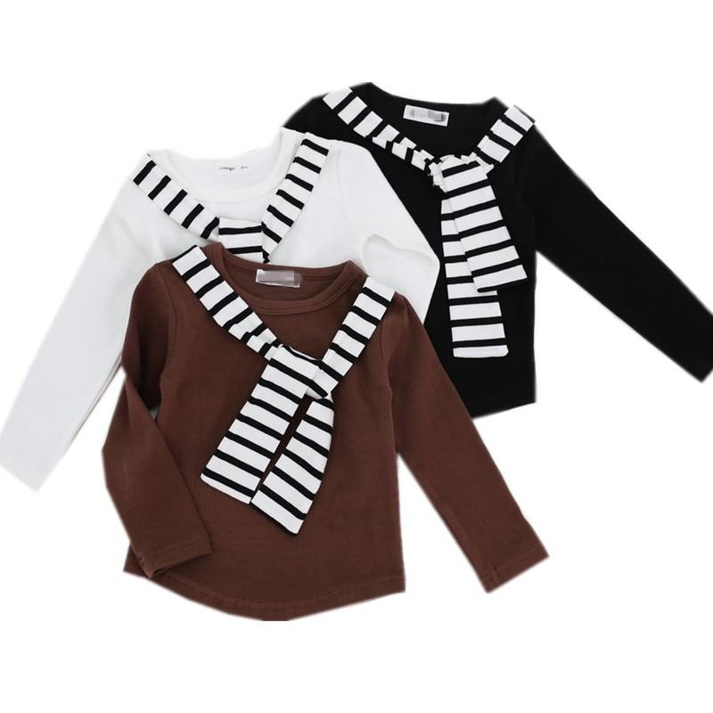 T-Shirt Children Long-Sleeve Tops Fall Girls Baby Boys Striped Winter Kids Fashion Cotton