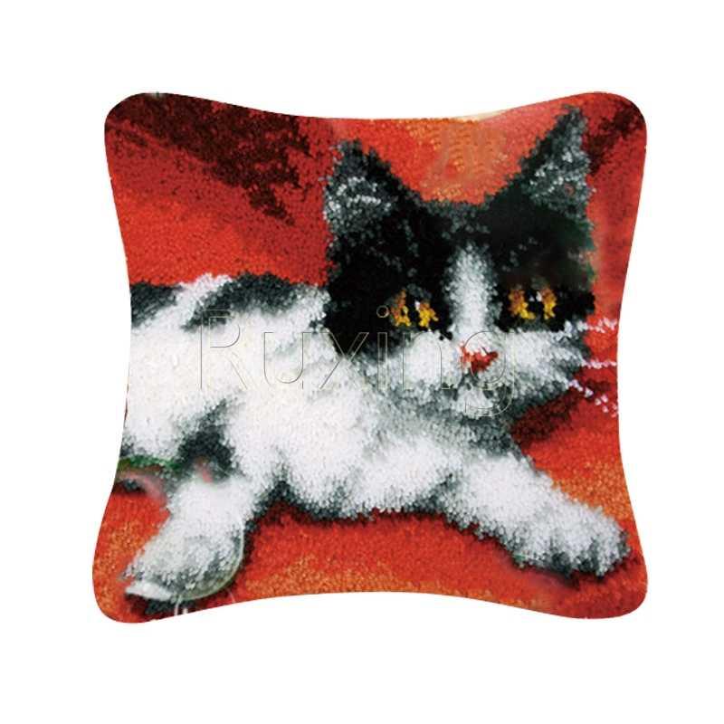 חם תפס וו כרית ערכות מתנת DIY רקמה סורגת לזרוק גמור כרית חוט רקמת ציפית חתול מלאכות
