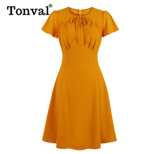 Tonval Vintage Bow Tie Neck High Waist Orange Women Dress Office Lady Elegant Fit and Flare Work Solid Dresses