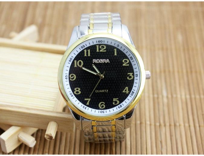 цены на Luxury Brand ROSRA Watch Fashion Gold Watches Men Full Steel Business Quartz Watch Man Hour Clock montre homme relogio masculino