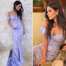 Sexy 2017 Elegante Kurzarm Meerjungfrau Spitze Prom Abendkleid Vestidos De Noiva Arabisch Sheer Neck Lila Spitze-partei-kleid EP52