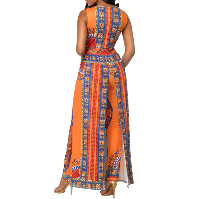 BAIBAZIN African Dresses for Women's Explosion Models Fashion Autumn Positioning Printing Orange Ethnic Pants 3