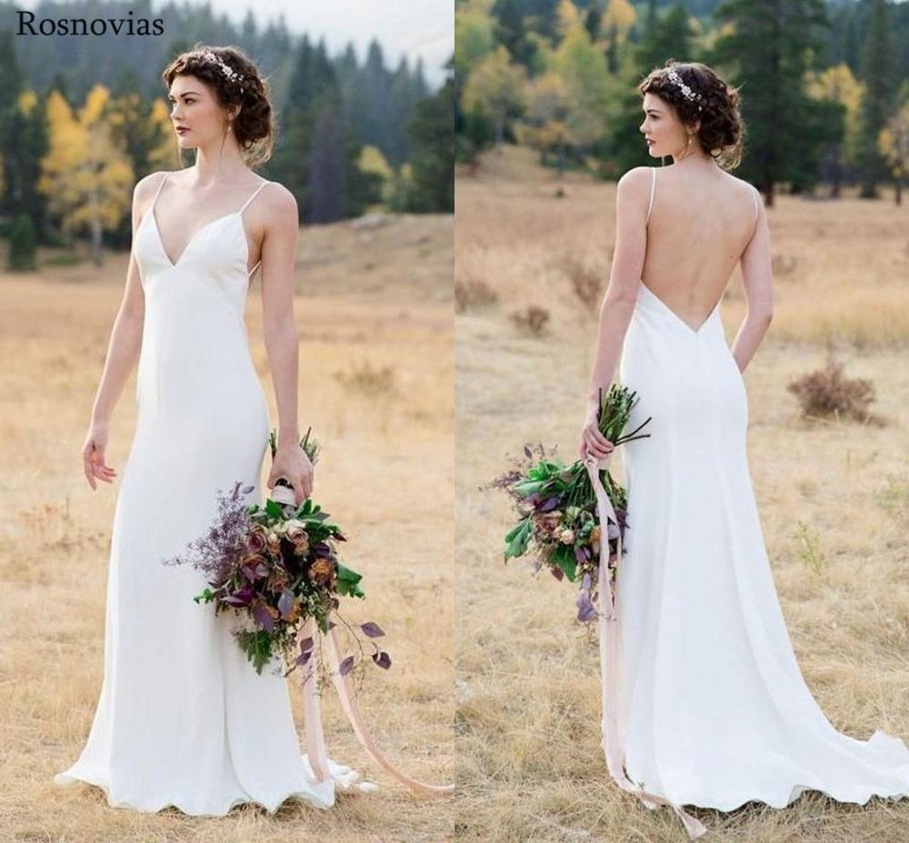 Country Boho Mermaid Wedding Dresses 2019 V Neck Backless Sweep Train Modest Garden Beach Stain Beach Bridal Cheap