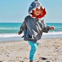 Toddler Baby Kids Boys Girls Long Sleeves Cartoon Shark Hooded Top Clothing Cartoon coat Hoodies Sweatshirt#30