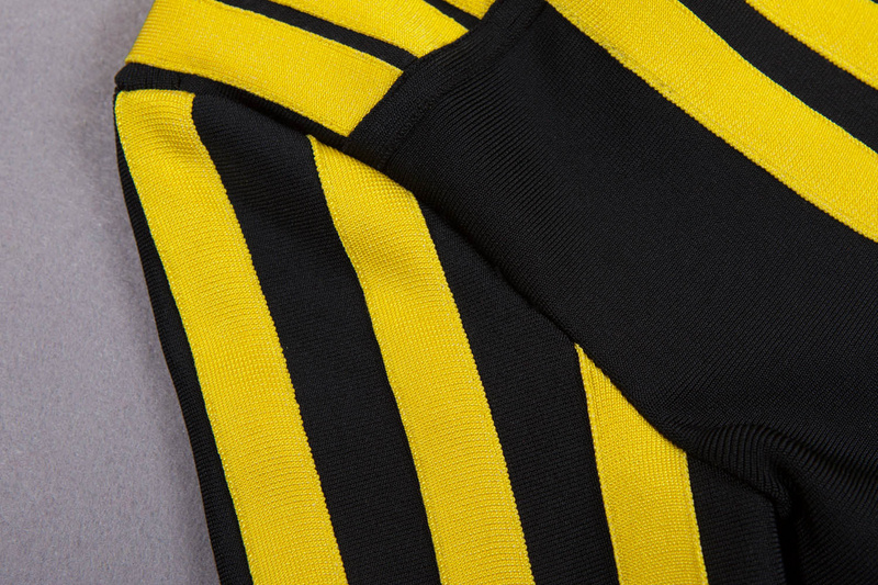 b6847b7fab Salen 2017 New Winter Long Sleeve O Neck Black Yellow Striped Patchwork  Bandage Dress Women Bodycon Celebrity Runway-in Dresses from Women s  Clothing on ...