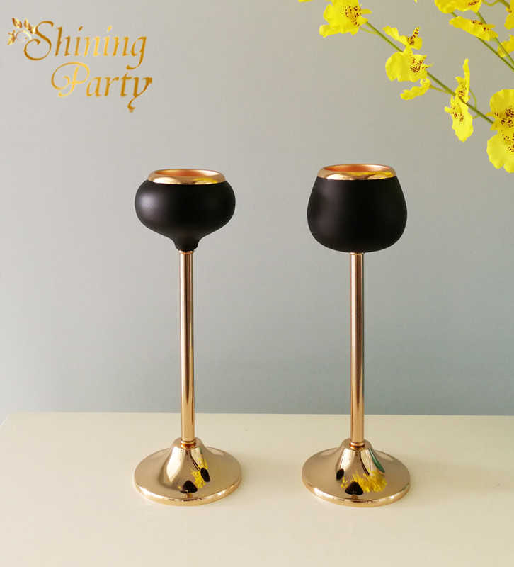 Shining Party H26cm Metal Gold+Black Candle Holder, Wedding Centerpiece, Candlestick, Wedding Party Home Christmas Decoration