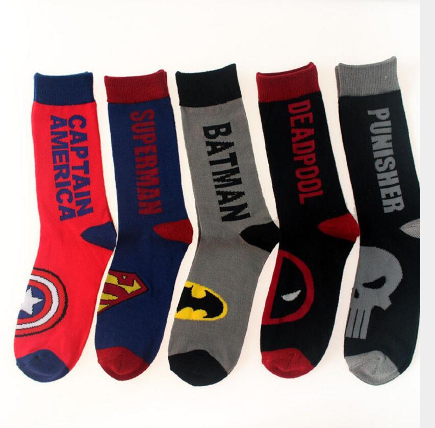 Marvel Super Heroes Fashion Men Children Socks Superman Batman Captain America Deadpool Punisher Socks Cotton Character Socks