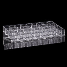 Clear New Acrylic Plastic Lipstick Holder Nail Polish Rack Cosmetic Sample Storage 36 Grids MakeUp Tool Shelf Multi Organizer(China)