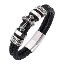 цена на Fashion Black Braid Leather Bracelets Men Fashion Cool Stainless Steel Magnetic Clasp Wristband Male Bracelets Bangles BB0075