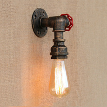 Loft iron lamp vintage pipe wall light corridor porch aisle stair room bedside bar club restaruant cafe bra sconce
