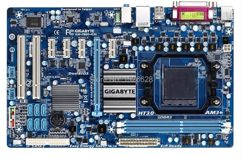 ФОТО 100% original desktop motherboard for Gigabyte GA-780T-D3L DDR3 Socket AM3+ Gigabit Ethernet free shipping