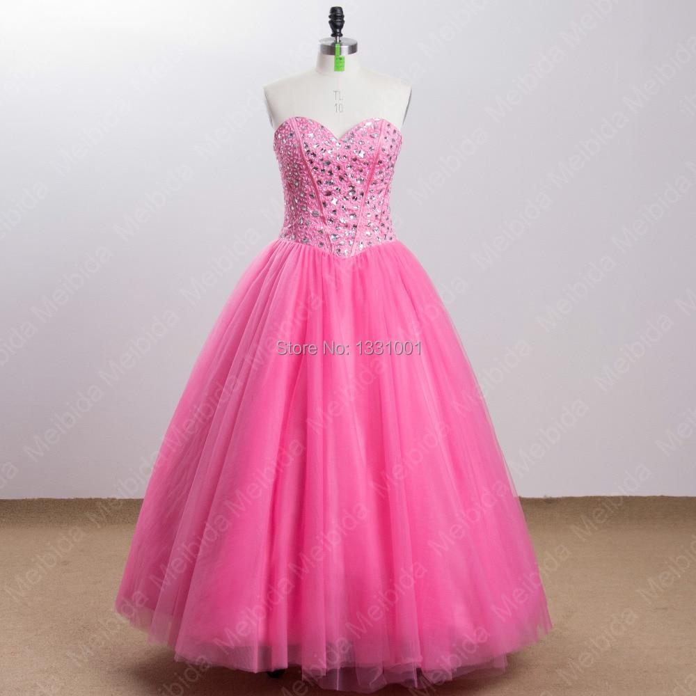Real Photo Sexy vestido de Bola Vestidos de Novia de Color Rosa de ...