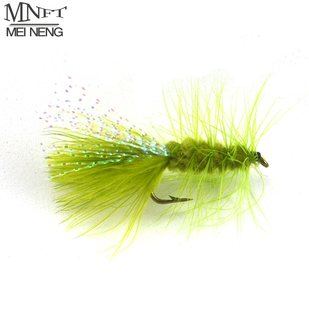 MNFT 10PCS 6# Olive Color Woolly Bugger Lure Trout Flashabou Tail Fly Fishng Lures mnft 10pcs 8 black woolly bugger black color with flashabou crystal decorated tail fly fishing lure streamer bead golden head