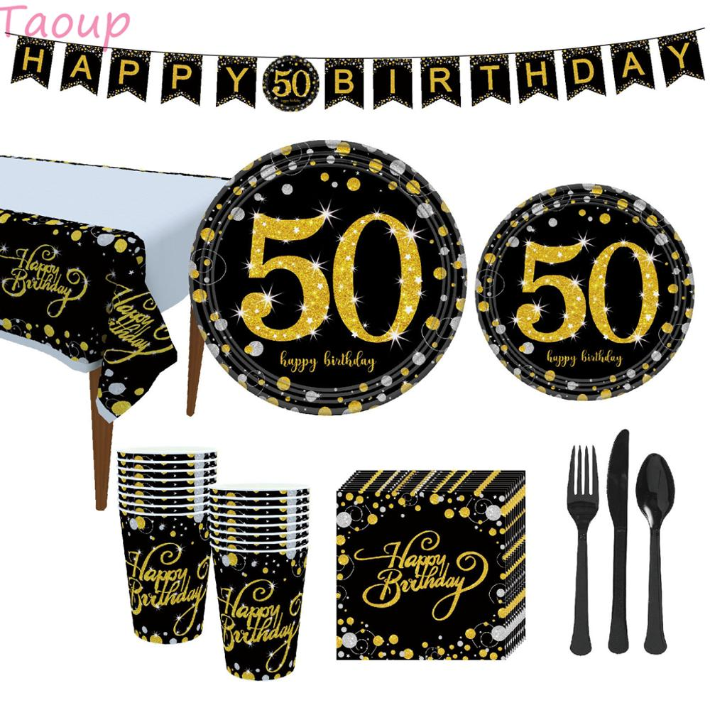 Taoup Gold 50th Birthday Party Tableware Cups Plates Towels Table Cover Happy <font><b>50</b></font> Birthday Party Decors Adult Parents Grandparent image