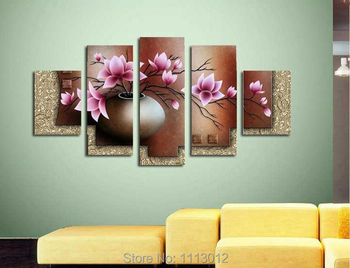 100% Hand Painted 5 Piece Set Modern Yellow Knife Flower Oil Painting On Canvas Home Wall Decoration Art Picture For Living Room