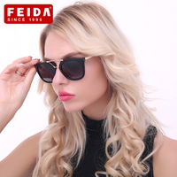 FEIDA New Fashion Cat Eye Sunglasses Brand Designer Black&Black Beige Women Men Sun Glasses For Metal UV400 Women Men Glasses
