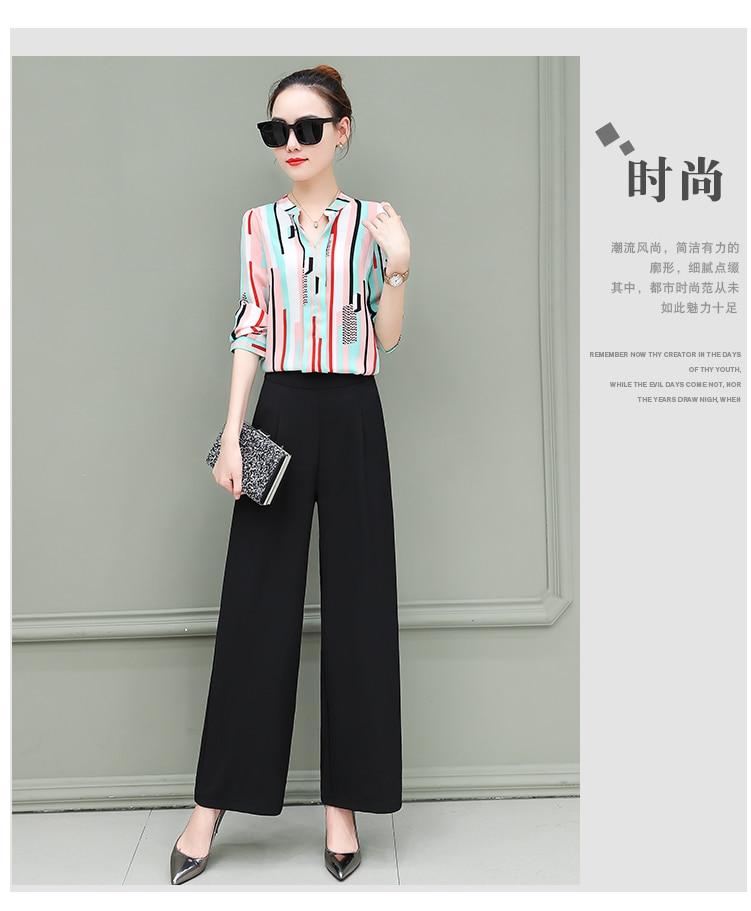 New OL suits 2018 summer Korean fashion stripe chiffon blouse top & wide-legged pants two pcs clothing set lady outfit S-4XL 16