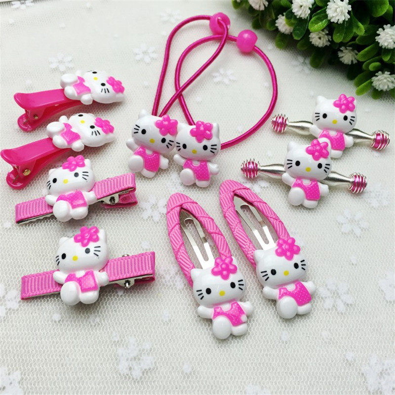10Pcs/set Fashion Hair Clip Children Girls Flower Kawaii Kitty Headband Cute Barrettes Hair Accessories Kids Hairpins High Ropes baby cute style children accessories hairpins rabbit fur ear kids girls barrette lovely hair clip