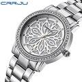 CRRJU Relogio Feminino Marca de Lujo Vestido de Las Mujeres Relojes de Acero Reloj de Cuarzo Relojes Para Mujer Relojes de pulsera de Diamantes de plata