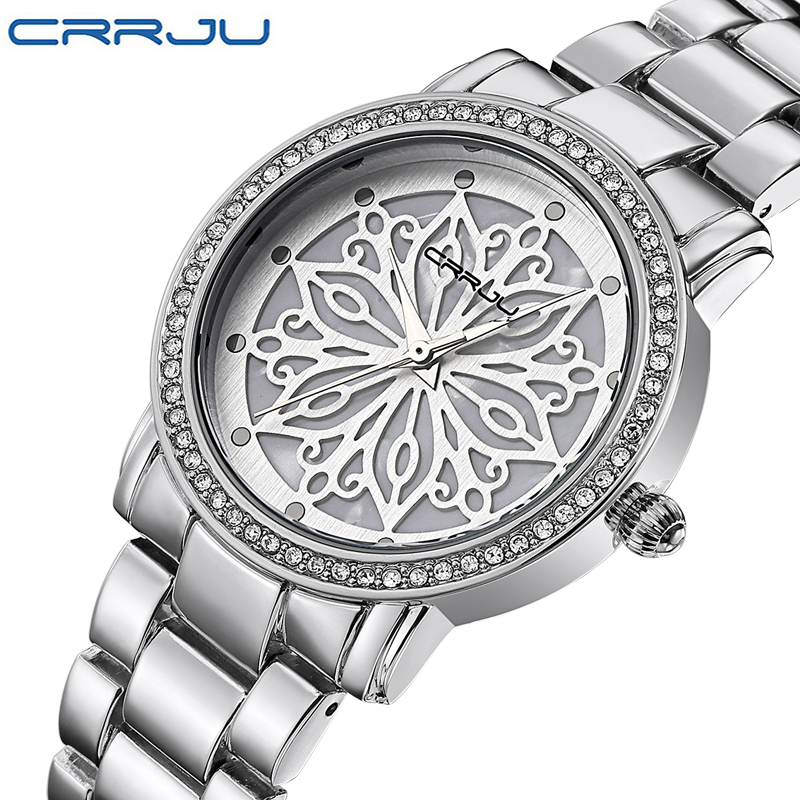 Relogio Feminino CRRJU Luxury Brand Women Dress Watches Steel Quartz Watch Diamonds silver Watches For Womans