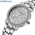 Relogio Feminino CRRJU Luxury Brand Women Dress Watches Steel Quartz Watch Diamonds silver Watches For Womans Wristwatches