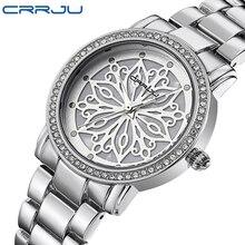 Relogio feminino crrju marca de luxo mulher vestido relógios aço quartzo relógios diamantes prata para mulheres relógios de pulso