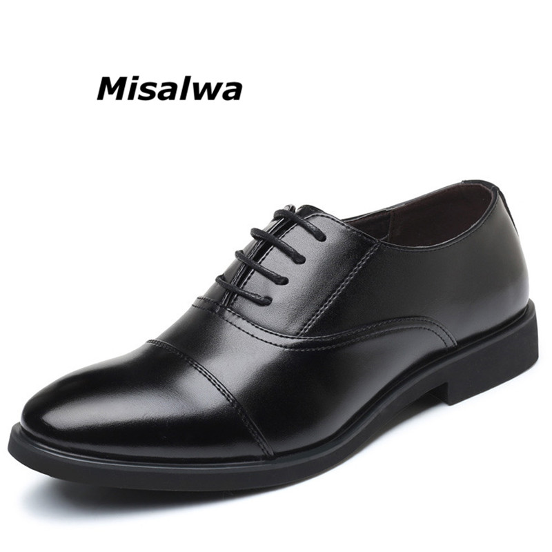 Misalwa 2018 Men's Formal Leather Lined Dress Loafers Shoes Round Toe Classic Lace up Flats Black Non-slip Oxford Business Shoes