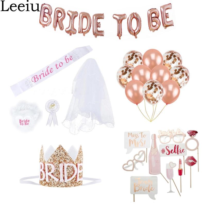 Leeiu Bride To Be Balloons Bridal Cap Crown Sash Badge Hen Night Party Decoration Bridal Shower Bachelorette Party Supplies
