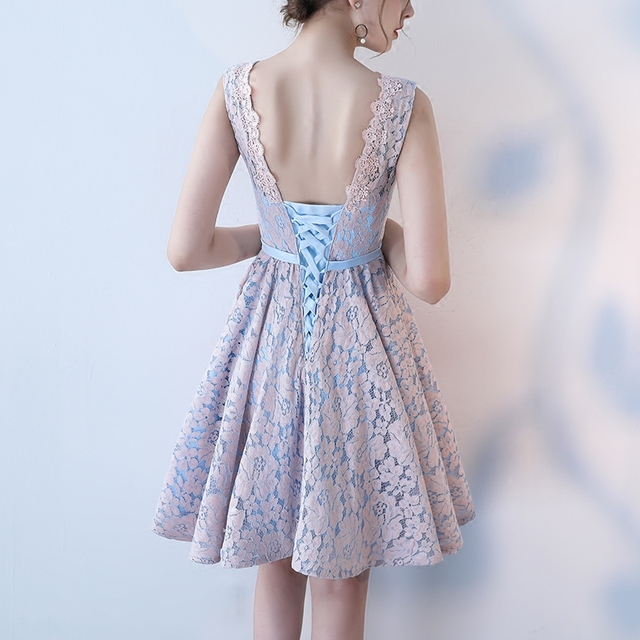 Short Bridesmaid Dresses Pink Contrast Color Sleeveless Sister Lace Dress Elegant Formal Wedding Party Gowns