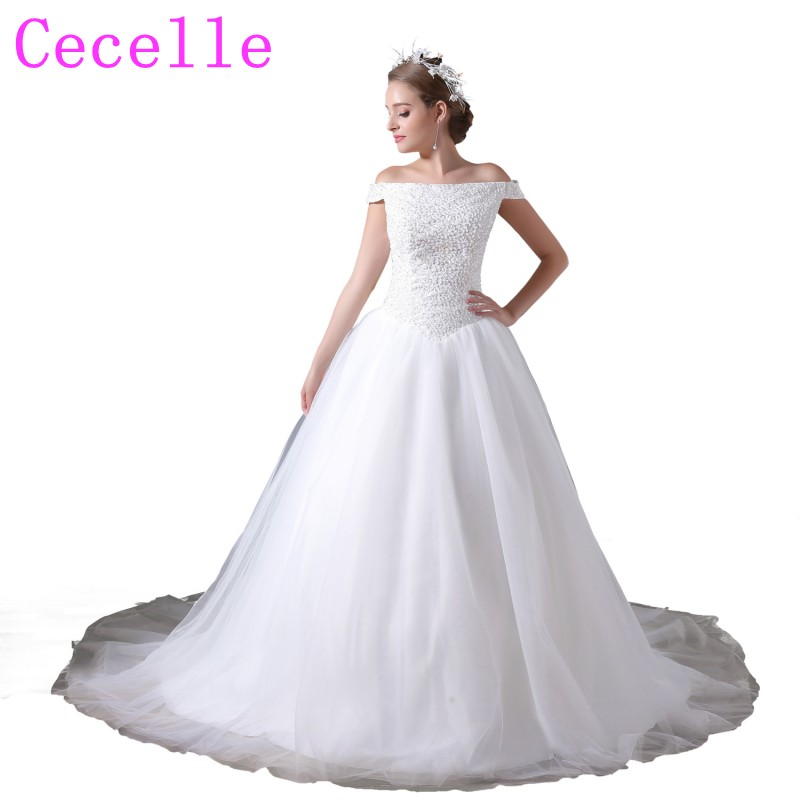 Fully Beading Top Ball Gown Tulle Skirt Wedding Dresses With Off