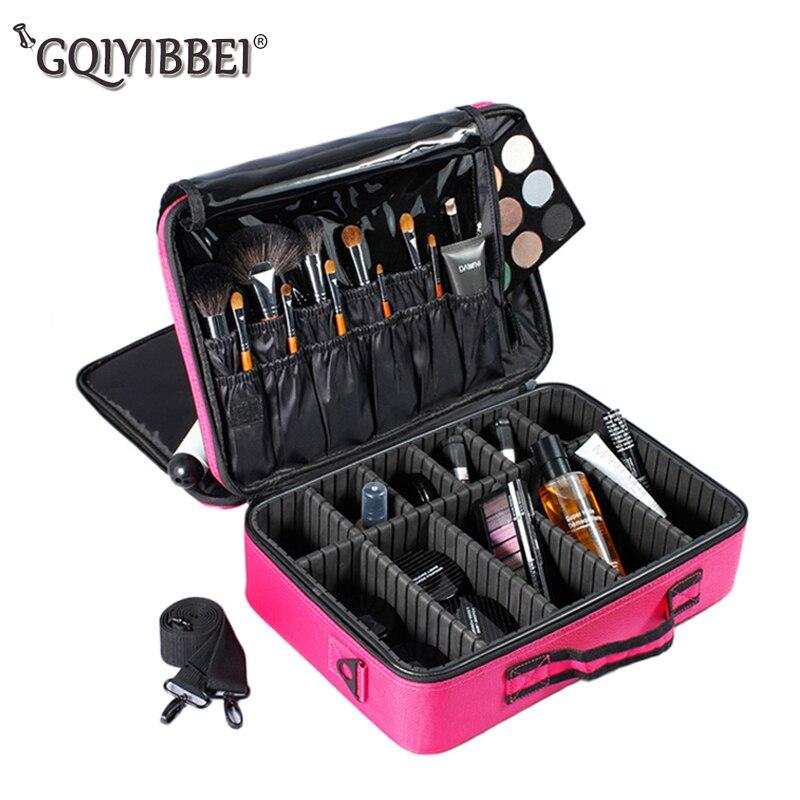 GQIYIBBEI Портативный Макияж Организатор Коробка для хранения 3 Слои с регулируемым плечом кисточки Набор ногтей Косметика Красота Инструменты