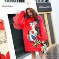 Fleece sweatershirt mujer splice gasa streetwear pullover Sudaderas Con Capucha roja de lentejuelas de dibujos animados pin ropa LT333