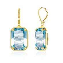 Szjinao dropshipping  2019 earrings for women gold long Jewelry Aquamarine 925 Sterling Silver Earrings