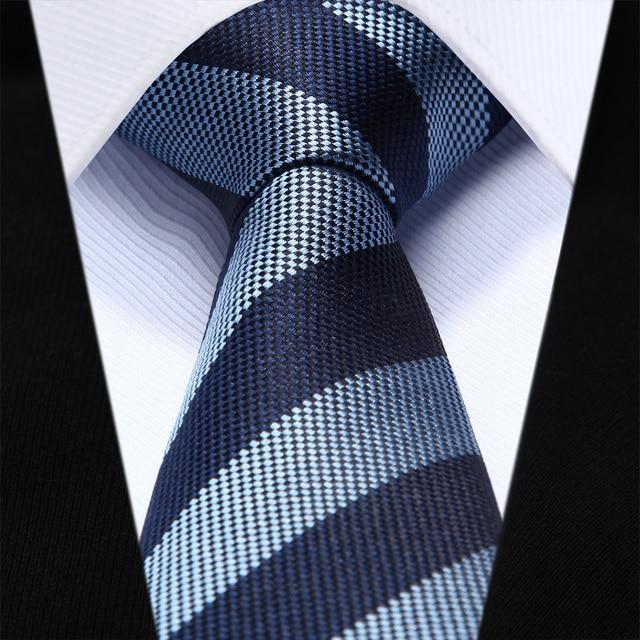 "Azul Marino Raya TZS07B6 Delgado Estrecho 2.6 ""100% Natural Seda Hombres Corbata del lazo Lazo de La Boda Del Partido"