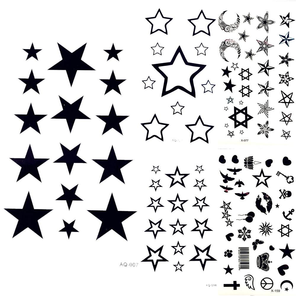 Lovely Black Moon Sky Stars Temporary Tattoo Cartoon Kids ...